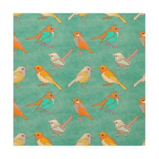 Teal and Orange Colorful Birds Pattern Turquoise Wood Print