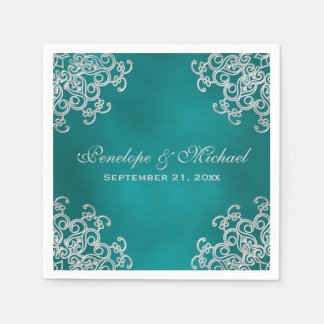 Teal and Silver Indian Style Wedding Disposable Napkins