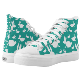 Teal and White Bunny High-Top Sneakers