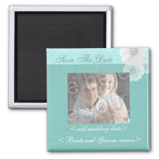 Teal And White Floral Save The Date Photo Magnet