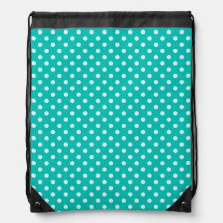 Teal and White Polka Dot Pattern Drawstring Bag