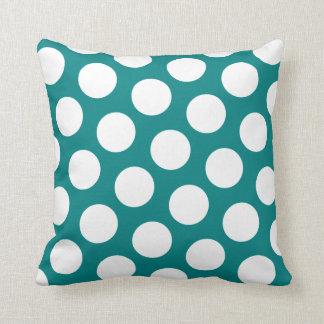 Teal and  White Polka Dot Pillow