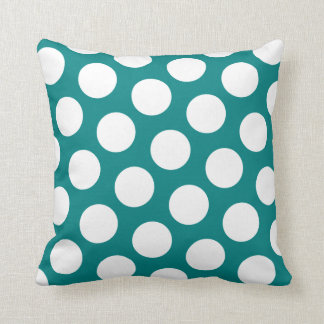 Teal and  White Polka Dot Pillow Throw Cushions