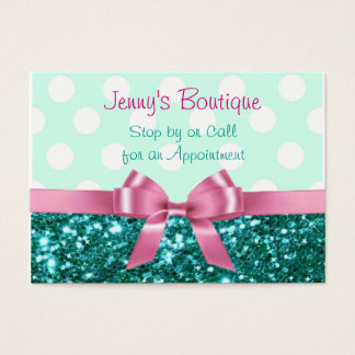 54 pink white bow business cards and pink white bow business card teal and white polka dot with pink bow amp glitter business card colourmoves