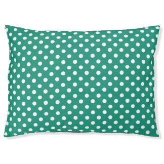 Teal and white polks dots pet bed