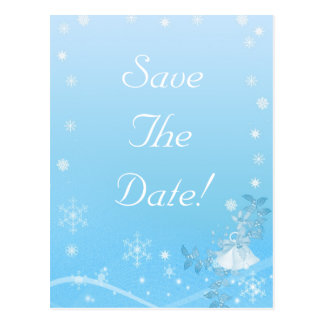 Teal and White Save The Date Winter Wedding Postcard