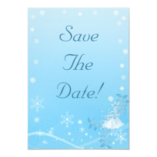 Teal and White Winter Save The Date Wedding Card