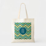 Teal and Yellow Colourful Chevron Pattern Monogram