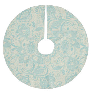 Teal Aqua Turquoise Floral Lace Tree Skirt