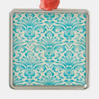 Teal Aqua Watercolor Damask Ombre Blue Print Christmas Ornament