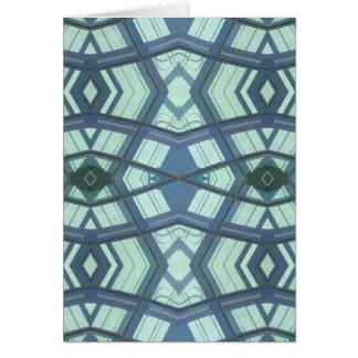Teal Aquamarine Contemporary Linear Art Card