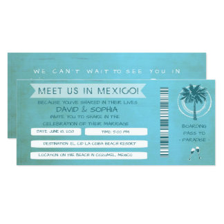 Teal Beach See You in Mexico Wedding Boarding Pass 10 Cm X 24 Cm Invitation Card