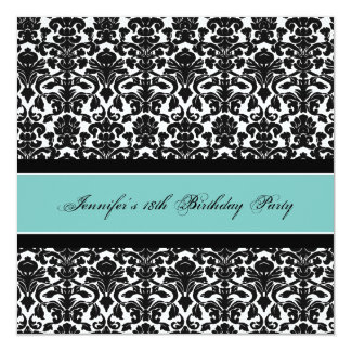 Teal Black Damask 18th Birthday Party Invitations