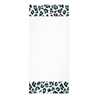 Teal Black Leopard Animal Print Pattern Rack Card Template