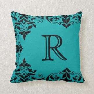 Teal & Black Monogram Damask Pillow