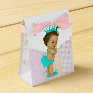 Teal Blue African American Baby Girl Shower Wedding Favour Box
