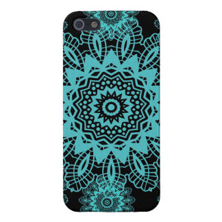 Teal Blue and Black Doily Lace Snowflake Mandala iPhone 5/5S Cover