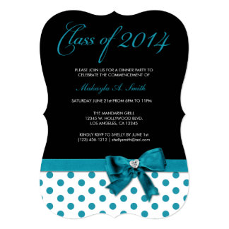 Teal Blue and Black with Polka-Dots Class of 2014 Card