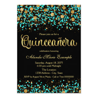 Teal Blue and Gold Quinceanera 4.5x6.25 Paper Invitation Card