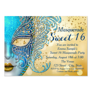 Teal Blue and Gold Sweet 16 Masquerade Party 11 Cm X 16 Cm Invitation Card