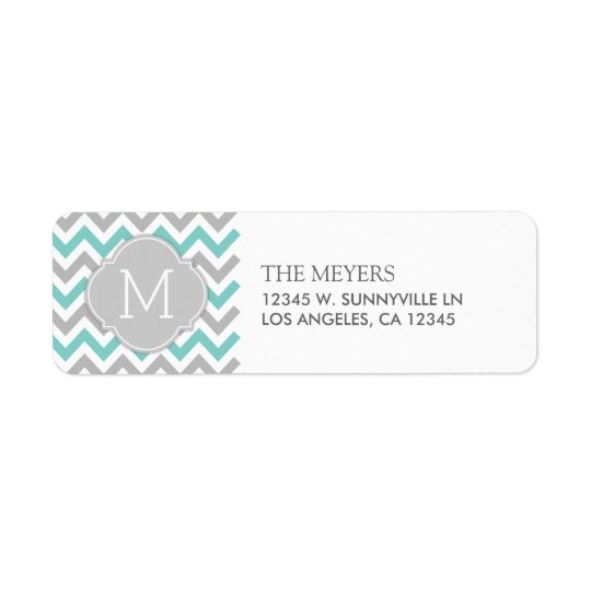 Teal Blue and Grey Modern Chevron with Monogram