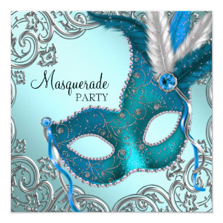 Teal Blue and Silver Mask Masquerade Party 13 Cm X 13 Cm Square Invitation Card