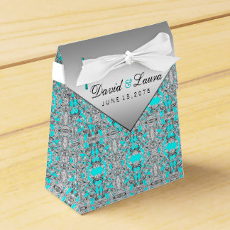Teal Blue and Silver Wedding Wedding Favour Boxes