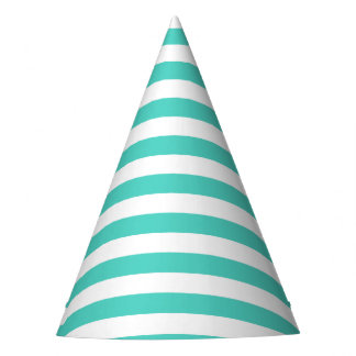 Teal Blue and White Stripe Pattern Party Hat