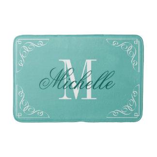 Teal blue bath mat with elegant name monogram bath mats