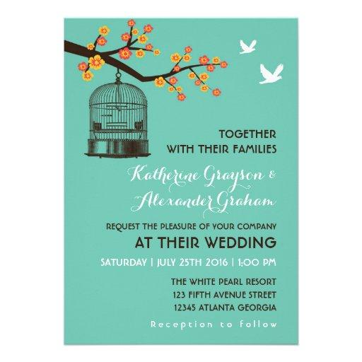 Teal Blue Bird Cage Floral Wedding Invitation