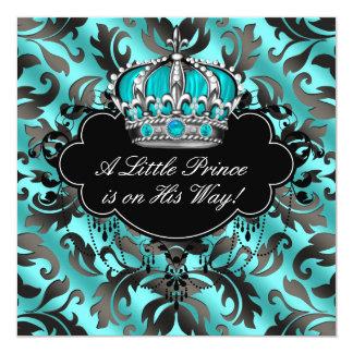 Teal Blue Black Damask Prince Baby Boy Shower Card