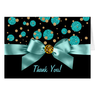 Teal Blue Black Gold Thank You Note Card