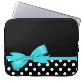 Teal Blue Bow Black and White Polka Dots Laptop Sleeve
