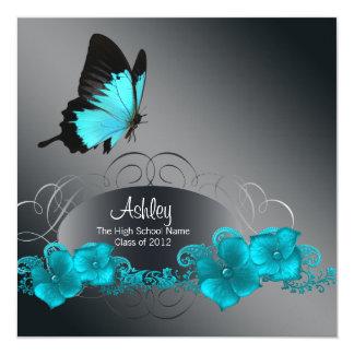 Teal Blue Butterfly Graduation Announcements