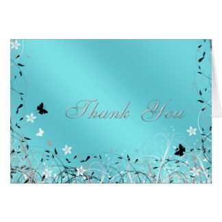Teal Blue Butterfly Thank You Cards