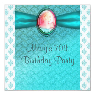 Teal Blue Cameo Womans 70th Birthday Party 13 Cm X 13 Cm Square Invitation Card