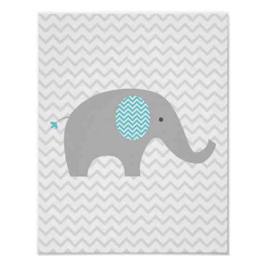 Teal Blue Chevron Elephant Nursery Wall Art Print Zazzle
