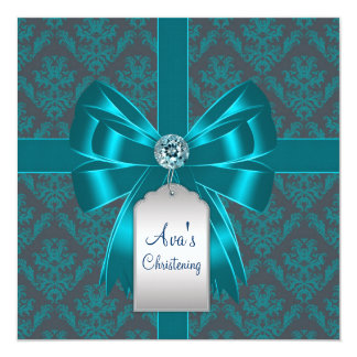 Teal Blue Damask Baby Baptism Christening 13 Cm X 13 Cm Square Invitation Card