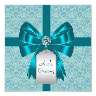 Teal Blue Damask Baby Baptism Christening Card