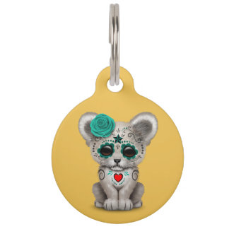 Teal Blue Day of the Dead Sugar Skull Lion Cub Pet Name Tag