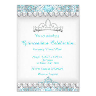 Teal Blue Diamond Tiara Princess Quinceanera 4.5x6.25 Paper Invitation Card