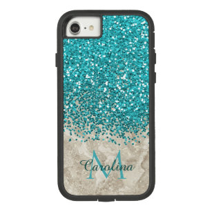 Teal Blue Glitter, Grey Marble Mobile Case-Mate Tough Extreme iPhone 8/7 Case