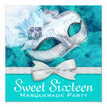 Teal Blue Masquerade Party 13 Cm X 13 Cm Square Invitation Card