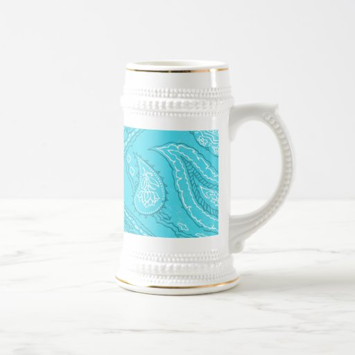 Teal Blue Paisley Print Summer Fun Girly Pattern Mugs