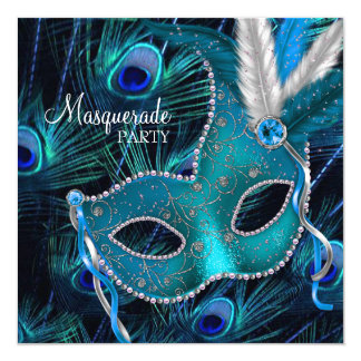 Teal Blue Peacock Mask Masquerade Party Card