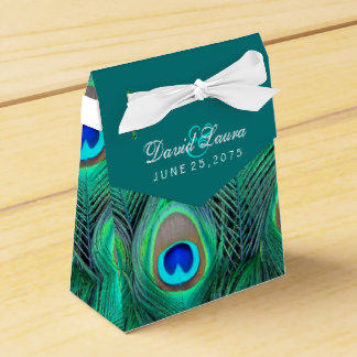 Teal Blue Peacock Wedding Favour Box