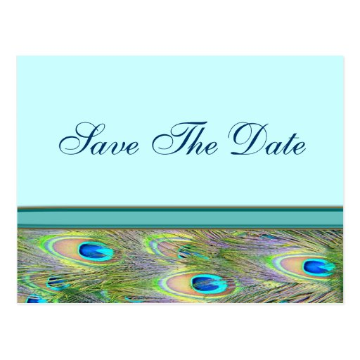 Teal Blue Peacock Wedding Invitations Post Cards