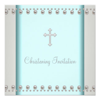 Teal Blue Pearl Cross Baby Baptism Christening 13 Cm X 13 Cm Square Invitation Card