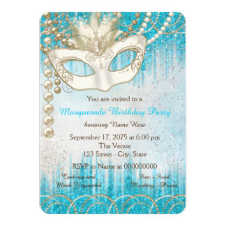 Teal Blue Pearl Masquerade Party 4.5x6.25 Paper Invitation Card