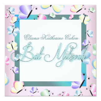Teal Blue Pink Butterfly Bat Mitzvah Invitations